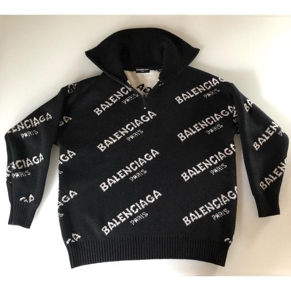 9cd55942e5 Balenciaga Other - Balenciaga men s 100% wool black logo sweater S 36